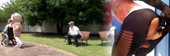 Subtitled bizarre Asian half bare caregiver outdoors