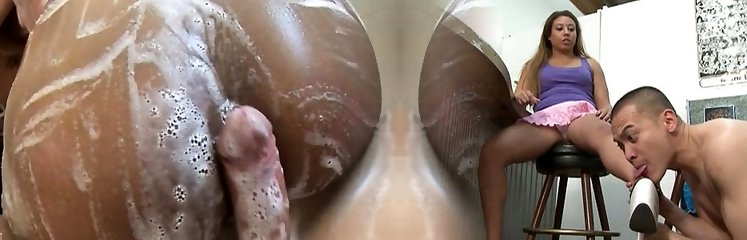 Asian masseuse rubs soapy wet cock in bath