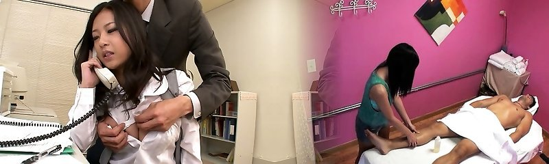 Astounding kawaii Japanese office mega-bitch sucks two strong cocks at work