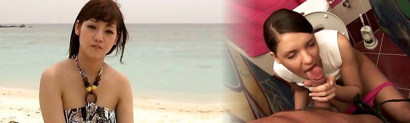 Crazy Japanese model Rei Mizuna in Exotic Teens, Beach JAV clamp