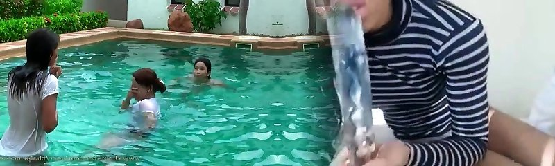 handsome thai girls in pool