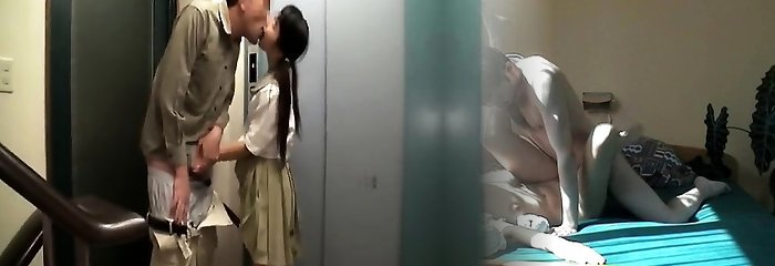 Asian school hottie gives blowjob and rides anally