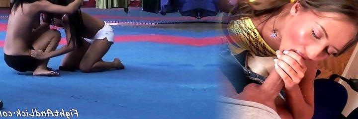 Asian dyke licks stunners puss after wrestling
