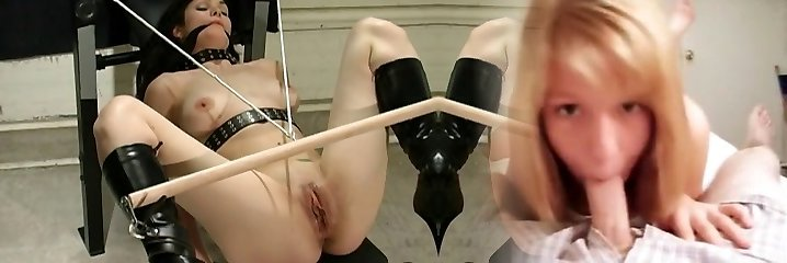 Girl in latex being used by her master