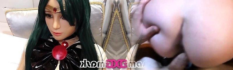 Sailormoon latex doll bondage cosplay