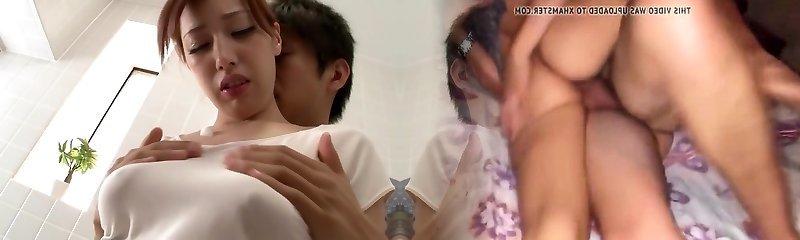 Horny Japanese model Riho Hasegawa in Best showers, couple JAV video
