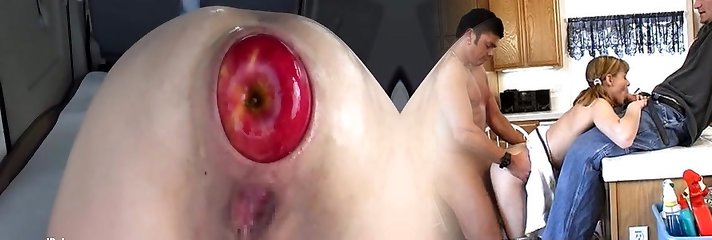 Large anal apple insertions and fisting