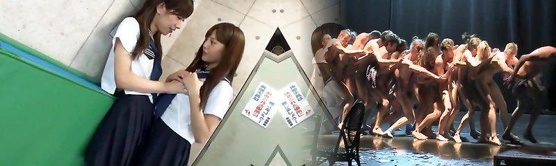 Exotic Japanese whore Rin Kashiwagi, Maria Hanano, Ai Uehara in Crazy Puny Tits, Lesbo JAV scene