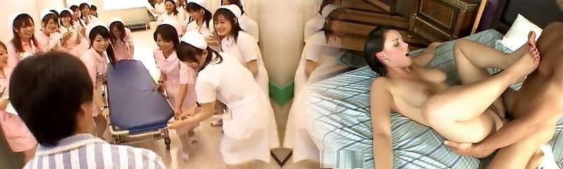 Asian nurses in a steaming gangbang