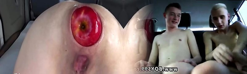 Fisting and fucking her wide open arse with huge apples
