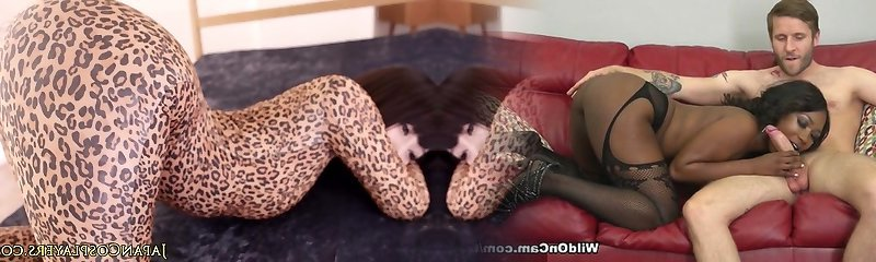 Pliable japanese cosplay babe in leopard bodysuit creampied