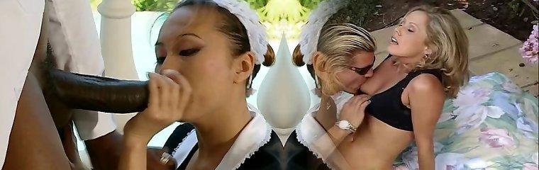asian maid bi-racial CFNM BJ