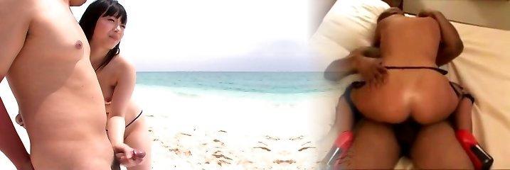 Grinning super-hot cutie Hina Maeda sucks a delicious lollicock on the beach