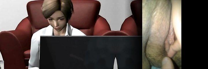 Animated babe enjoying a fake penis