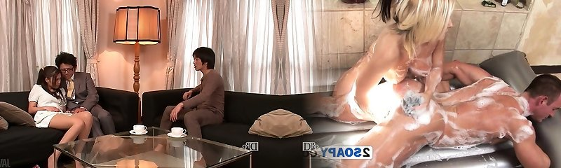 Lewd hubby and his friend undress mischievous wife Aoi Miyama and fuck her well
