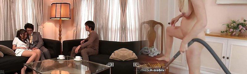 Lewd husband and his buddy undress kinky wife Aoi Miyama and pummel her well