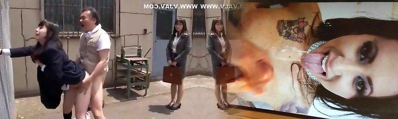 Hottest Japanese mega-slut Hitomi Fujiwara, Mina Yoshii in Spectacular Doggy Style, Outdoor JAV movie