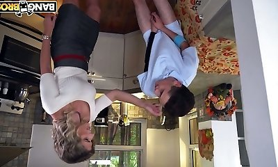 Slutty stepmom Cory Chase caught her stepson penetrating a pie in the kitchen