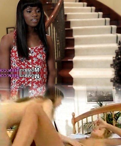 Ebony milf teaches teen