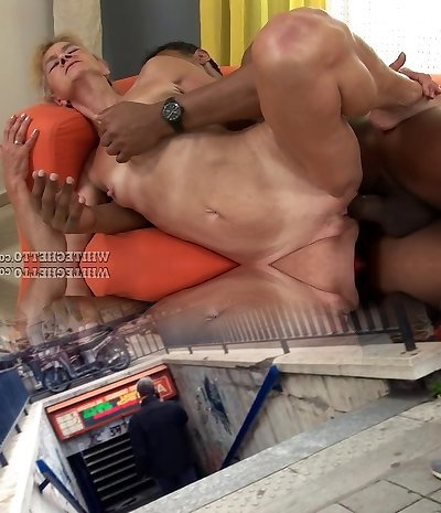 Grannie is still able to take a black pipe in her pussy