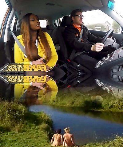 Fake Driving School Hot Dark-hued Jai James with Huge Mammories
