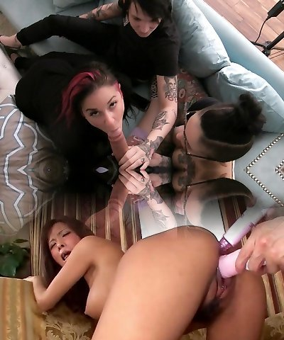 Joanna Angel & Leigh Raven & Nikki Hearts & Nikki Darling & Holly Hendrix in Behind-the-scenes Scene 97 - BurningAngel