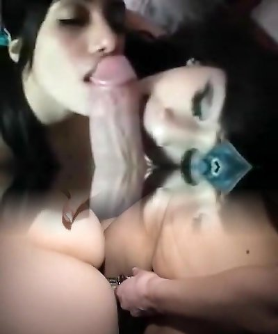 2 little emo chicks on a immense dick