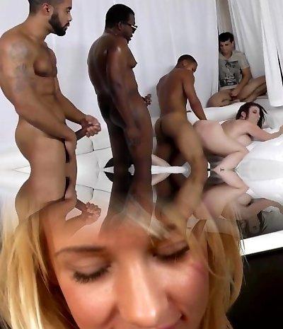 Sara Jay gets ganbanged by black dudes