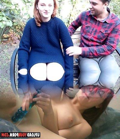 Outdoor amateur ebony ass cummed on