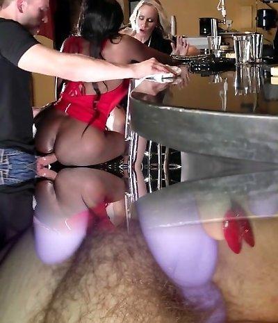Brazzers - Ebony and ivory, assfucking threesome