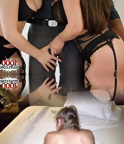 Giant tits cowgirl threesome with facial