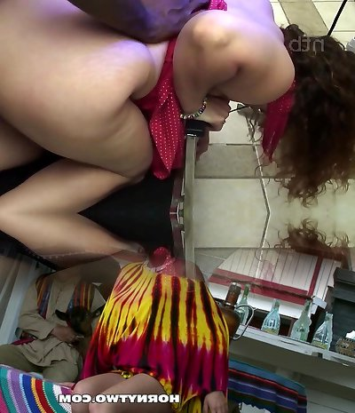 Curly Phat Ass White Girl wife get creampied by her dark-hued bull.