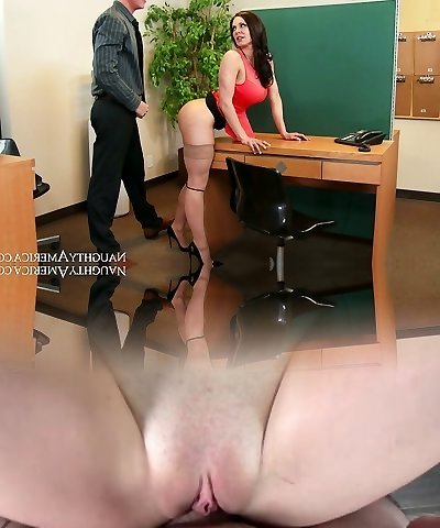 Nasty assistant with fat titties Kendra Lust fucked on the table by Richie Black