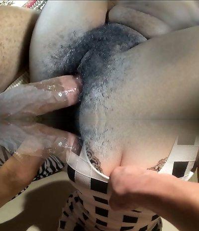 Horn-furious big boobed dark-hued nympho Jordan gets her hairy cunt hammered