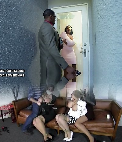 Hot ebony BBW Maseratti pounds horny black man on the white couch
