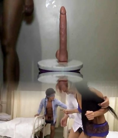 Ebony girl takes thick fuck stick in her pussy