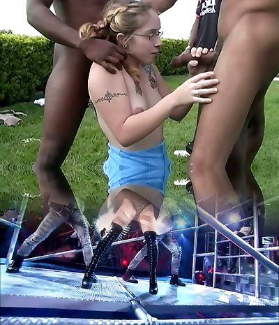 Super-naughty teen tart in glasses gets gangbanged by black studs outdoors