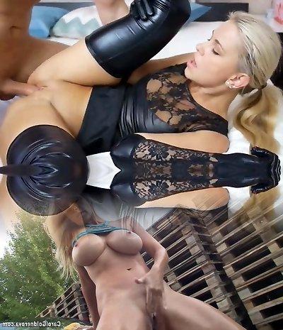 Gorgeous Blond Slut Fucked In Black Latex Moist Look Lingerie