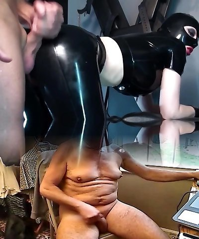 Masked Slut In Black Latex Rubber Deepthroats and Pummels for Facial