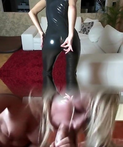 Posh MILF Plowed In Shiny Black Latex Catsuit Cum On Muff
