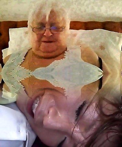 Super-sized 80y.o. British granny in dark-hued lingerie