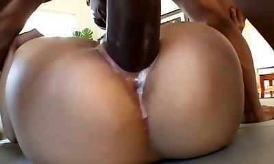 Japanese cowgirl with small orbs gets her creampied pussy nailed by black boy