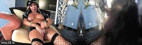 Lusty She-creature police Ariel Everitts strokes after work