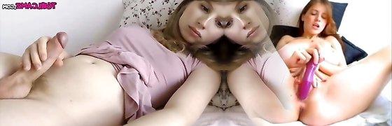 Monstercock light-haired tgirl webcam