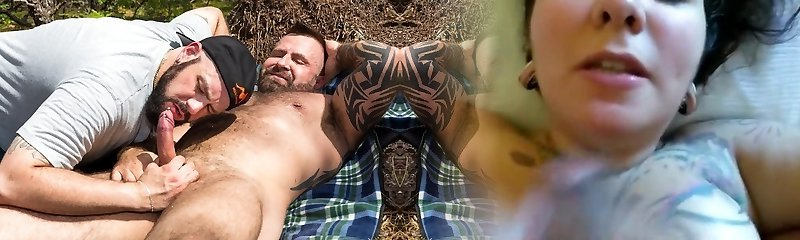 Marc Angelo and Skott Locke - Outdoor Handjob - BearFilms