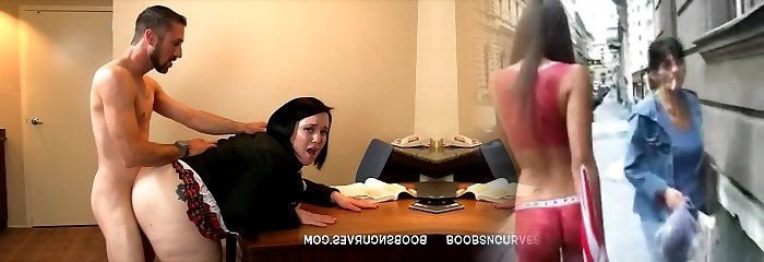 Secretary arched over a desk