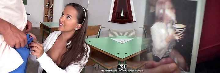 Enormous tittied college dame Olivia Nice is riding a hard dick before taking pop-shots on her face