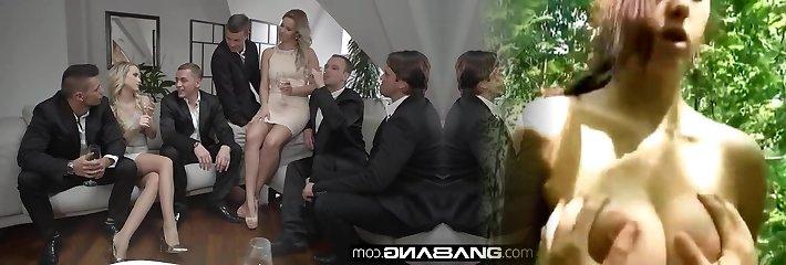 Glamkore - Vinna & Nikky take on five men for a group boink