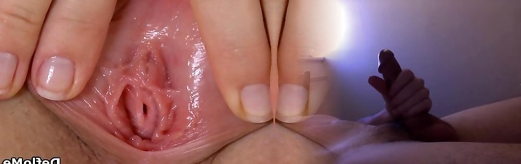 Virgin teases her smallish mounds and spreads pussy lips in closeup