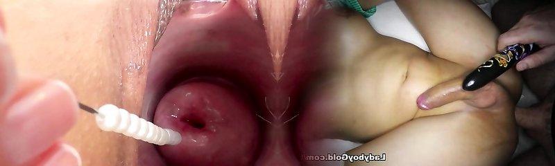 Cervix fucking frolicking slamming a japanese vibrator